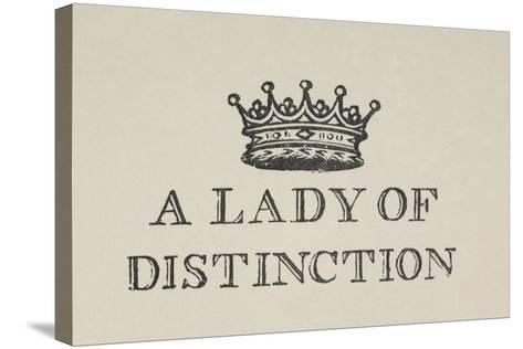 A Lady Of Distinction'. Illustration Of a Crown With Text-Thomas Bewick-Stretched Canvas Print