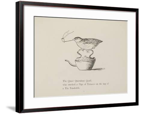 Quail Perched On Teapot, Smoking a Pipe From a Collection Of Poems and Songs by Edward Lear-Edward Lear-Framed Art Print