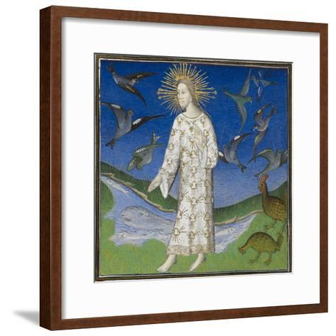 Creation Scene Showing the Fifth Day, With God Creating the Animals Of the Air and the Water-Guyart Des Moulins-Framed Art Print