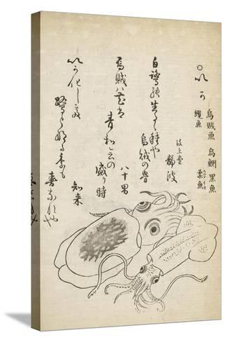 Squid-Katsuma Ryusai-Stretched Canvas Print