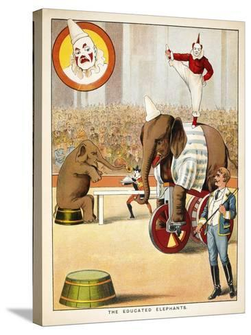 The Educated Elephants'. an Involving Elephants and Clowns in a Circus--Stretched Canvas Print