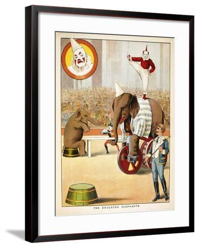 The Educated Elephants'. an Involving Elephants and Clowns in a Circus--Framed Art Print