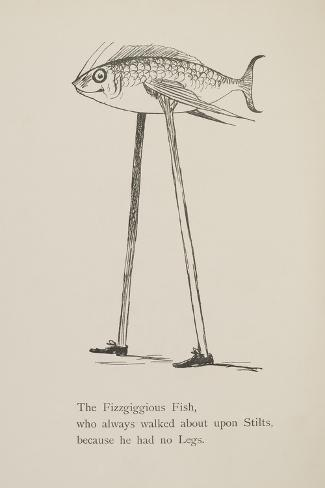 Fish On Stilts From Nonsense Botany Animals and Other Poems Written and Drawn by Edward Lear-Edward Lear-Stretched Canvas Print