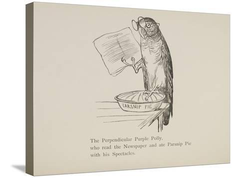 Parrot Reading Newspaper, Nonsense Botany Animals and Other Poems Written and Drawn by Edward Lear-Edward Lear-Stretched Canvas Print