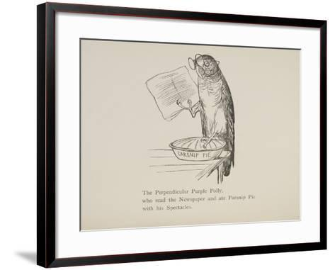 Parrot Reading Newspaper, Nonsense Botany Animals and Other Poems Written and Drawn by Edward Lear-Edward Lear-Framed Art Print