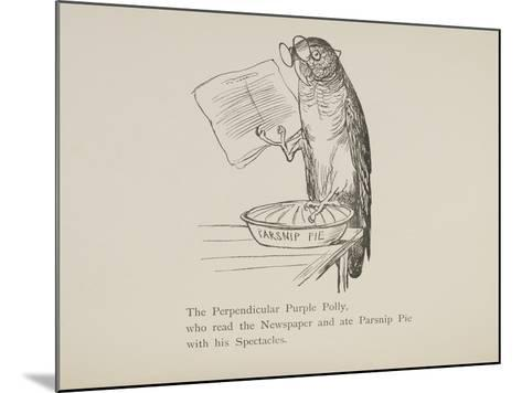 Parrot Reading Newspaper, Nonsense Botany Animals and Other Poems Written and Drawn by Edward Lear-Edward Lear-Mounted Giclee Print