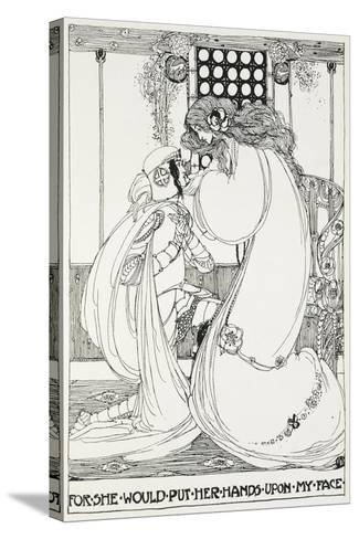 For She Would Put Her Hands Upon My Face - a Knight and Maiden-Jessie King-Stretched Canvas Print