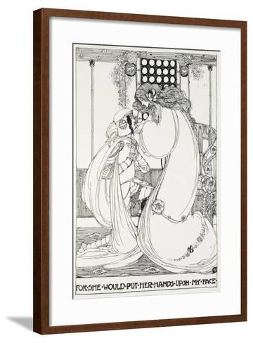For She Would Put Her Hands Upon My Face - a Knight and Maiden-Jessie King-Framed Art Print