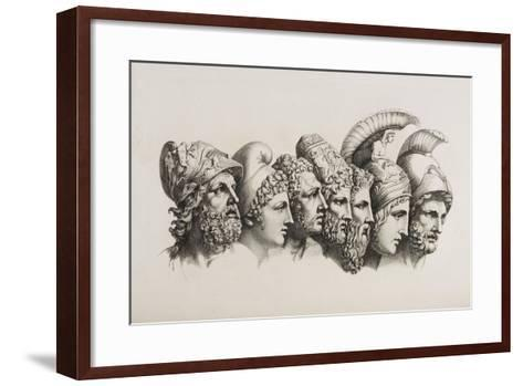 A Row Of Seven Heads Of Classical Heroes and Heroines From the Stories Of Homer.-HW Tischbein-Framed Art Print