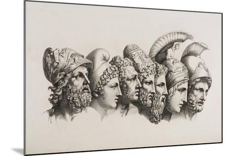 A Row Of Seven Heads Of Classical Heroes and Heroines From the Stories Of Homer.-HW Tischbein-Mounted Giclee Print