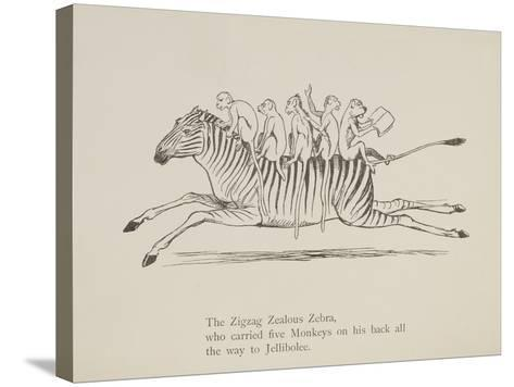 Monkeys Riding a Zebra, Nonsense Botany Animals and Other Poems Written and Drawn by Edward Lear-Edward Lear-Stretched Canvas Print