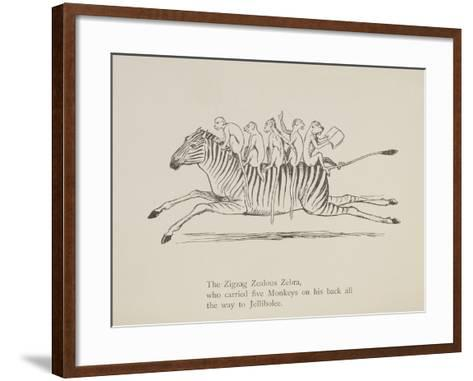 Monkeys Riding a Zebra, Nonsense Botany Animals and Other Poems Written and Drawn by Edward Lear-Edward Lear-Framed Art Print