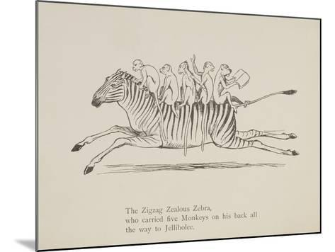 Monkeys Riding a Zebra, Nonsense Botany Animals and Other Poems Written and Drawn by Edward Lear-Edward Lear-Mounted Giclee Print