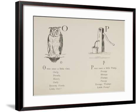 Owl and Pump Illustrations and Verses From Nonsense Alphabets Drawn and Written by Edward Lear.-Edward Lear-Framed Art Print
