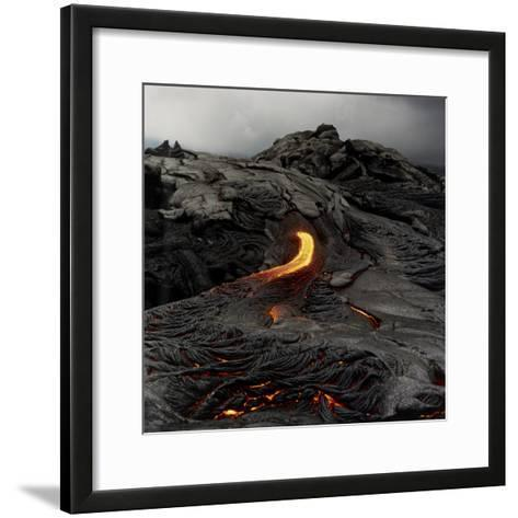 Lava Flowing From Volcano.-Fay Godwin-Framed Art Print