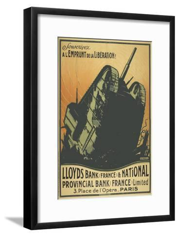A French Poster Depicting a Tank Breaking Through Barbed Wire.--Framed Art Print
