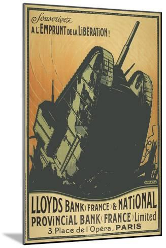 A French Poster Depicting a Tank Breaking Through Barbed Wire.--Mounted Giclee Print