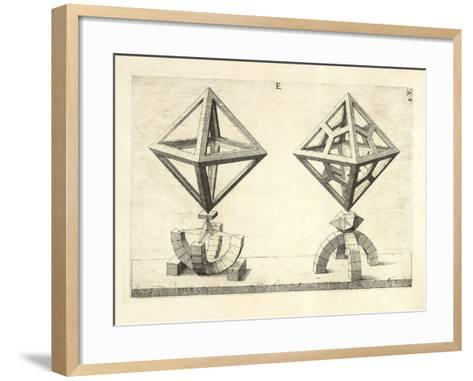 Illustration Of Sculpture. Geometric Designs Illustrating Euclidian Principles Of Geometry.-Wenzel Jamnitzer-Framed Art Print