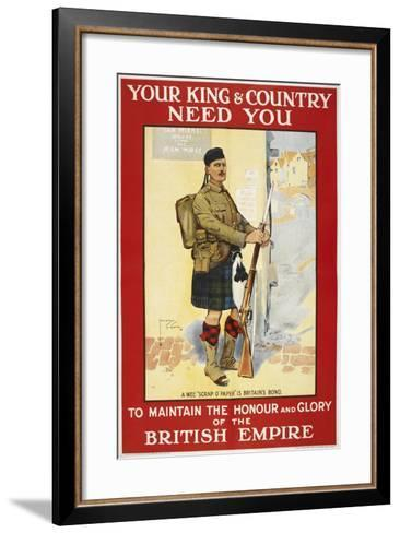 Your King and Country Need You'. a Recruitment Poster Showing a Scottish Soldier--Framed Art Print