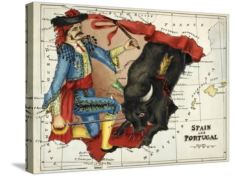 Map Of Spain and Portugal Represented As a Matador and Bull-Lilian Lancaster-Stretched Canvas Print