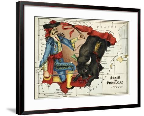 Map Of Spain and Portugal Represented As a Matador and Bull-Lilian Lancaster-Framed Art Print