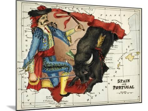 Map Of Spain and Portugal Represented As a Matador and Bull-Lilian Lancaster-Mounted Giclee Print