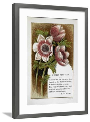 New Year Greetings Card With Floral Decoration and Poem by R. N. Milnes-W. Dickes-Framed Art Print
