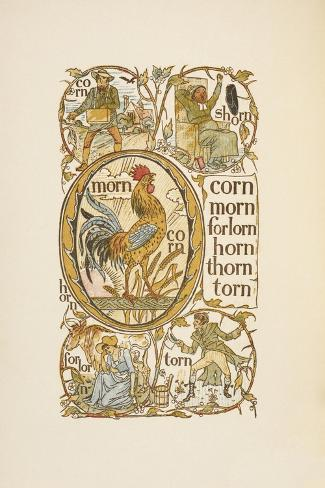 Rhyming Words Ending in the Letter N. To Illustrate the Use Of the Letter O. the Golden Primer-Walter Crane-Stretched Canvas Print