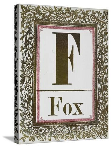Letter F: Fox. Gold Letter With Decorative Border--Stretched Canvas Print