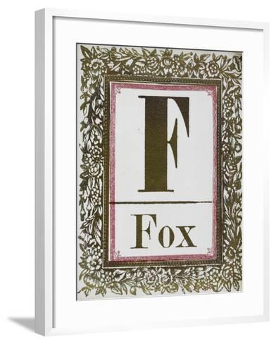 Letter F: Fox. Gold Letter With Decorative Border--Framed Art Print