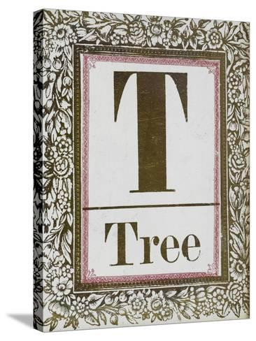 Letter T: Tree. Gold Letter With Decorative Border--Stretched Canvas Print