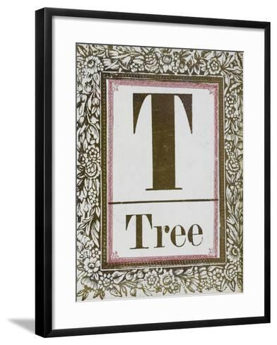 Letter T: Tree. Gold Letter With Decorative Border--Framed Art Print