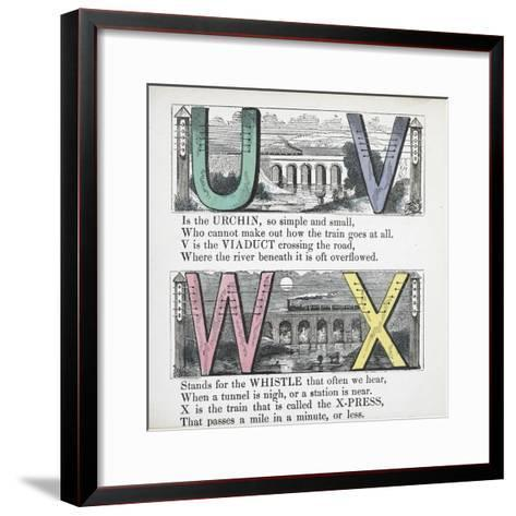 Illustrations Of Letters U, V, W and X: Urchin, Viaduct, Whistle and X-press--Framed Art Print