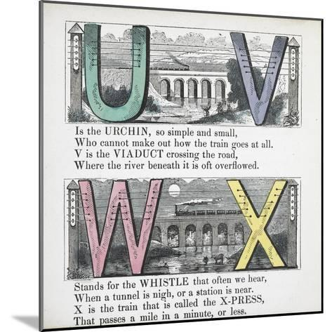Illustrations Of Letters U, V, W and X: Urchin, Viaduct, Whistle and X-press--Mounted Giclee Print