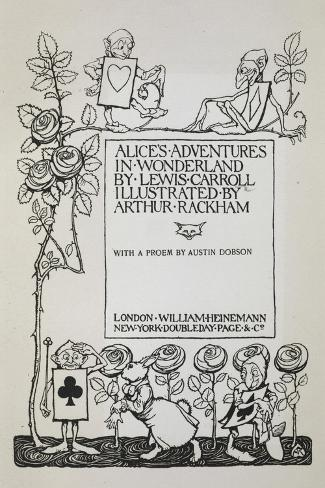 Title Page With a Rose Bush, the White Rabbit and Men Dressed As Cards-Arthur Rackham-Stretched Canvas Print