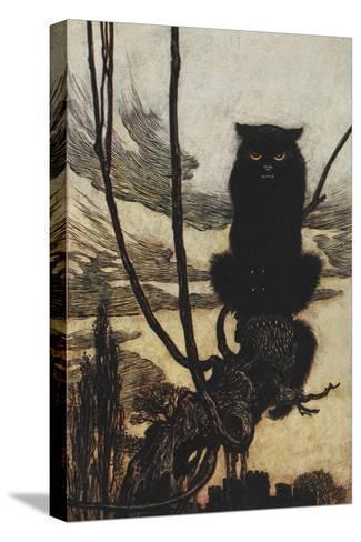 Illustration From Jorinda and Joringel Of a Black Cat-Arthur Rackham-Stretched Canvas Print