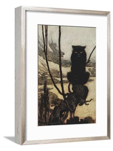 Illustration From Jorinda and Joringel Of a Black Cat-Arthur Rackham-Framed Art Print