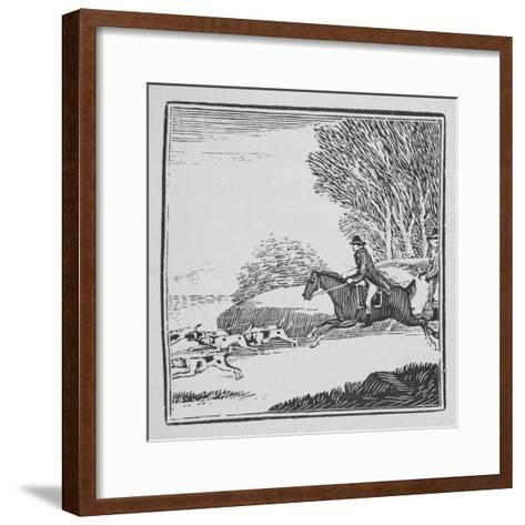 Engraving Of a Man Out Hunting On Horseback With Dogs-Thomas Bewick-Framed Art Print