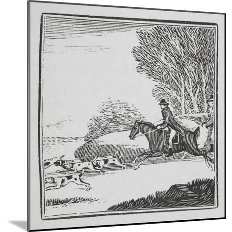 Engraving Of a Man Out Hunting On Horseback With Dogs-Thomas Bewick-Mounted Giclee Print