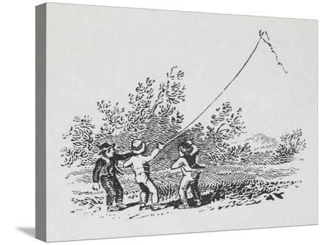 Engraving Of Three Boys Playing With a Kite-Thomas Bewick-Stretched Canvas Print