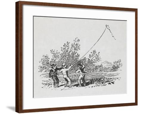 Engraving Of Three Boys Playing With a Kite-Thomas Bewick-Framed Art Print