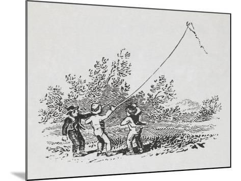Engraving Of Three Boys Playing With a Kite-Thomas Bewick-Mounted Giclee Print