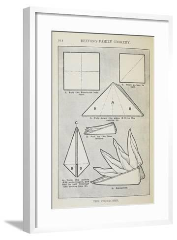 Instructions For Folding a Serviette Into 'The Cockscomb' Shape-Isabella Beeton-Framed Art Print