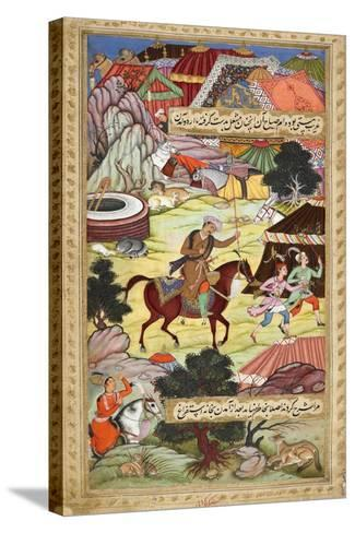 Babur Carrying a Torch Riding Drunk Through the Camp After a Celebration Party On a Boat (1519)-Shankar Gujarati-Stretched Canvas Print