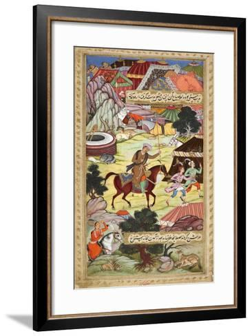 Babur Carrying a Torch Riding Drunk Through the Camp After a Celebration Party On a Boat (1519)-Shankar Gujarati-Framed Art Print