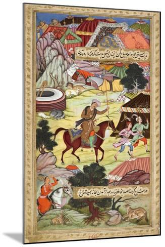 Babur Carrying a Torch Riding Drunk Through the Camp After a Celebration Party On a Boat (1519)-Shankar Gujarati-Mounted Giclee Print