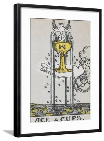 Tarot Card With a Hand Holding a Gold Cup Over a Pond. a White Bird Flies Into the Cup-Arthur Edward Waite-Framed Art Print