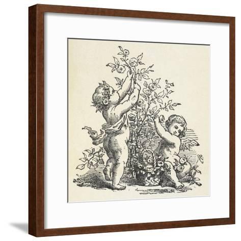 Two Cherubs With a Rose Bush--Framed Art Print
