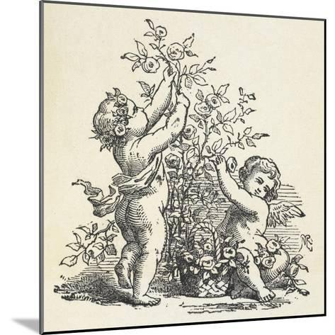 Two Cherubs With a Rose Bush--Mounted Giclee Print