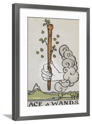 Tarot Card With a White Hand Holding a Large Wand With a Cloud Of Smoke-Arthur Edward Waite-Framed Art Print